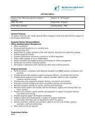 Job Description Position Title: Office Receptionist /Program Assistant ...
