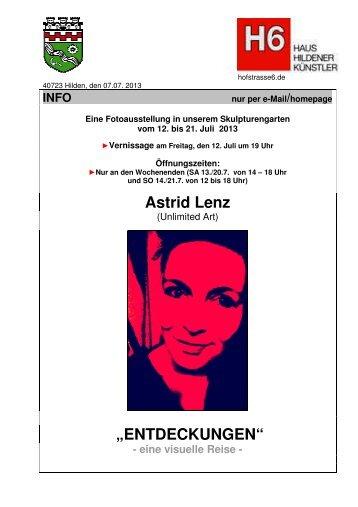 "Astrid Lenz ""ENTDECKUNGEN"" - Haus Hildener Künstler"