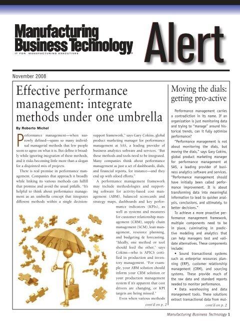 Effective performance management: integrate methods under ... - SAS