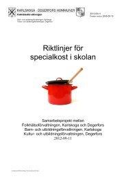 Riktlinjer för specialkost i skolan - Karlskoga kommun