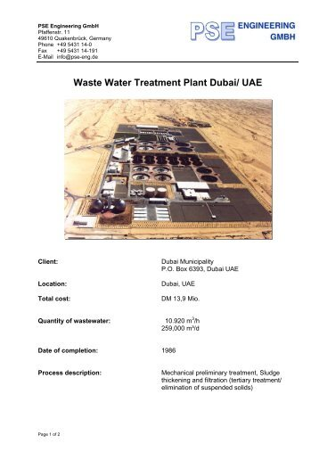 Waste Water Treatment Plant Dubai/ UAE - PSE Engineering GmbH