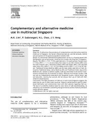 Complementary and alternative medicine use in multiracial Singapore
