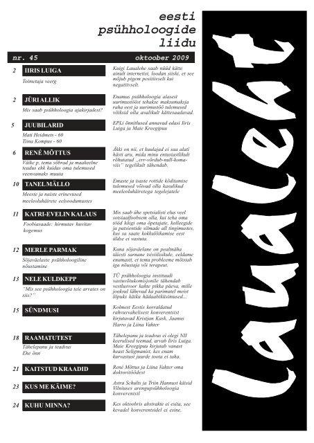 2009 oktoober nr 45 - Eesti Psühholoogide Liit