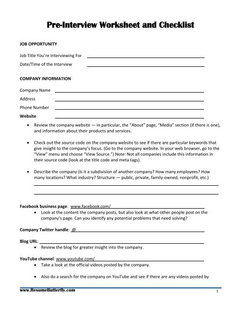 Jobseeker's Guide to Preparing for the Job     - Resume Butterfly