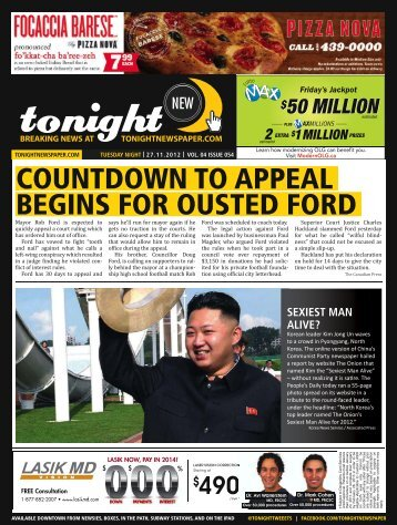 countdown to appeal begins for ousted ford - tonight Newspaper