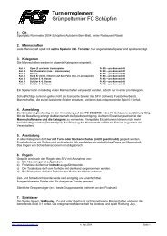 Turnierreglement Grümpelturnier FC Schüpfen