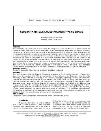 geografia física ea questão ambiental no brasil - Departamento de ...