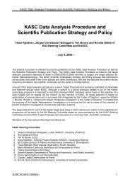 KASC Data Analysis Procedure and Scientific Publication Strategy ...