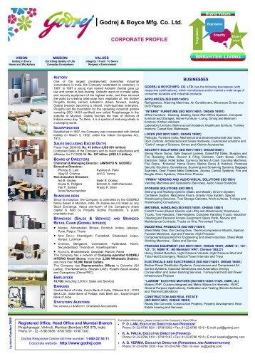 Corporate Profile - Change Magazine - Godrej & Boyce