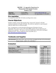 CIS235 – Computer Information Systems I - Temple Fox MIS