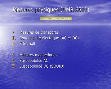 Mesures physiques - Institut des Sciences Chimiques de Rennes