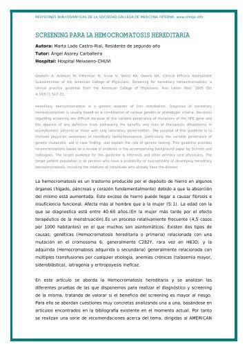 screening para la hemocromatosis hereditaria - Sociedad Gallega ...