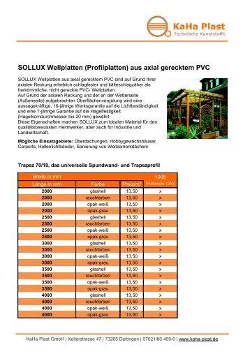 SOLLUX Wellplatten (Profilplatten) aus axial gerecktem ... - KaHa Plast
