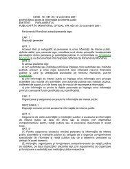 Legea nr. 544/2001 privind liberul acces la informaţiile de ... - Centre