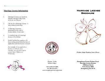 Marriage License Brochure - Orangeburg County