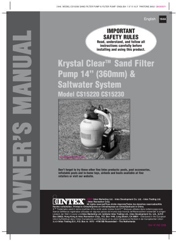 Manual Above Ground Pools Inflatables Ready To Use Intex