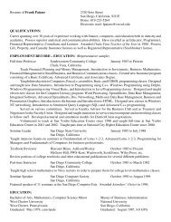 Resume, August 2013 - Frank Paiano