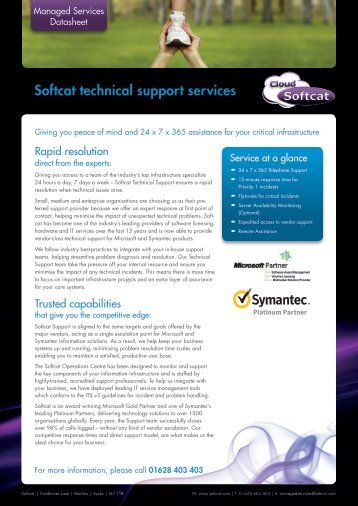 Softcat technical support services