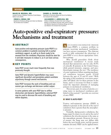 Auto-positive end-expiratory pressure - Cleveland Clinic Journal of ...