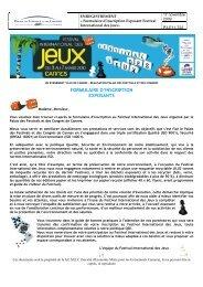 formulaire inscription jeux de societe 2010 - Festival International ...