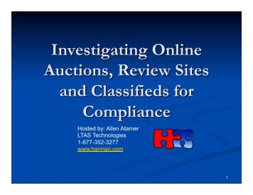 Investigating Online Auctions, Review Sites And Classifieds