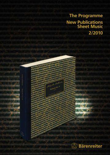 Bärenreiter The Programme New Publications Sheet Music 2/2010