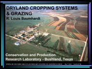 DRYLAND CROPPING SYSTEMS & GRAZING