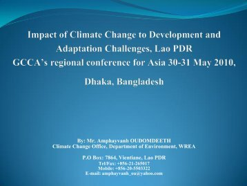 Impact of climate change to development and adaptation challenges