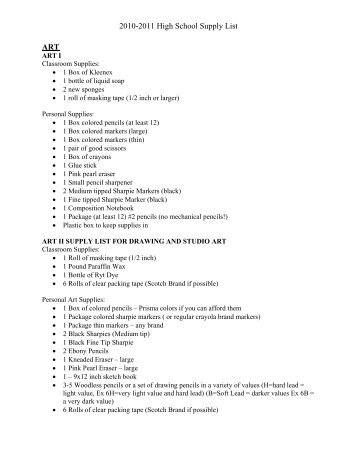 2010-2011 High School Supply List ART - Liberty Hill ISD