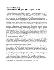 Executive Summary Youth Violence: A Report of the Surgeon General