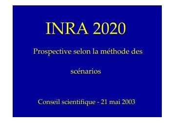 Exemple 2 : INRA 2020 - Prospective selon la methode des scenarios