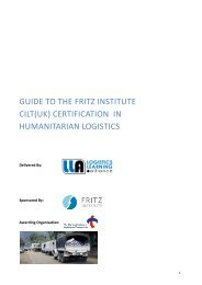 guide to the fritz institute cilt(uk) certification in humanitarian logistics