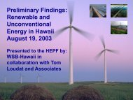 Preliminary Findings - Hawaii Energy Policy Forum