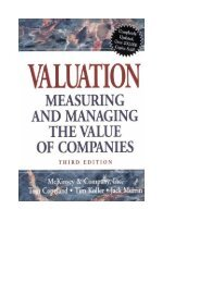 The Mckinsey Valuation Measuring and Managing the Value of ...