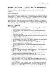 Course: Pre-Calculus - Wisconsin Lutheran High School
