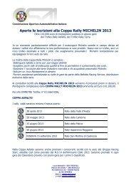 Aperte le iscrizioni alla Coppa Rally MICHELIN 2013 - ACI Sport Italia