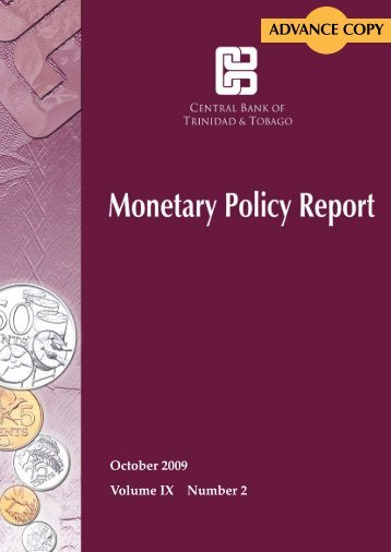 ADVANCE COPY - Central Bank of Trinidad and Tobago