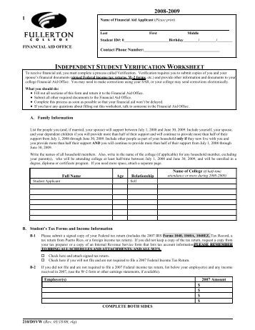 Printables Fafsa Independent Verification Worksheet 2009 2010 independent verification worksheet financial aid student aid