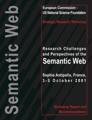 Research Challenges and Perspectives of the Semantic Web - Ercim