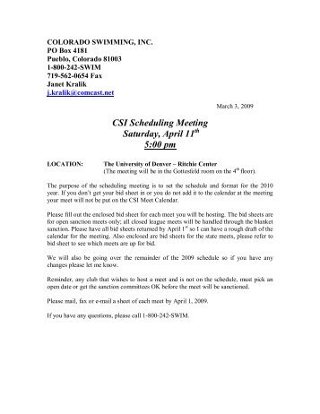 CSI Scheduling Meeting Saturday, April 11 5:00 pm - Colorado ...
