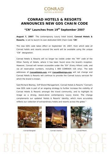 conrad hotels & resorts announces new gds chain code - Hilton