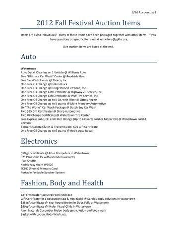 2012 Fall Festival Auction Items Auto Electronics Fashion ... - Finalweb