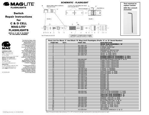 mag lite schalter p//n 108-00-022 d cell flashlite