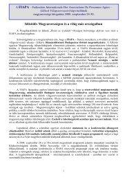 """(Idősek Világszervezete) magyarországi látogatásáról - """"Életet az ..."""