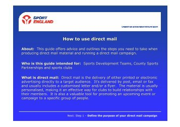 How to use direct mail - VicSport