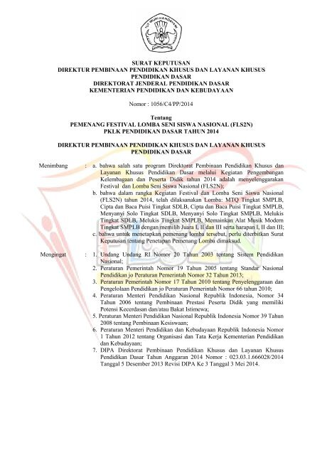 Sk Pemenang Lomba Fls2n 2014