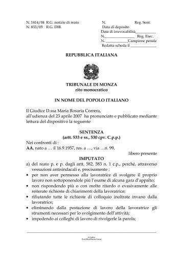 REPUBBLICA ITALIANA TRIBUNALE DI MONZA rito monocratico IN ...