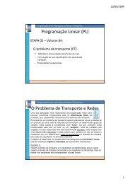 Programação Linear: Aplicações em Redes e ... - Site Prof. Bertolo