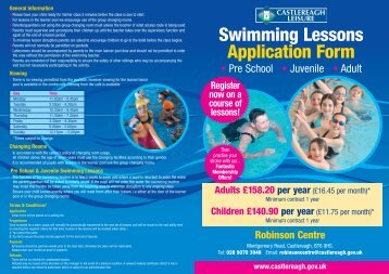 Swimming Lesson Application Form