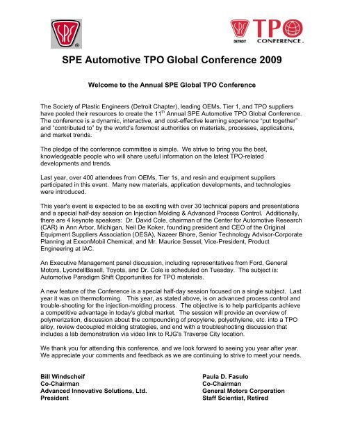 Spe Automotive Tpo Global Conference 2009 Auto Tpo Com